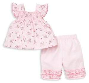 Kissy Kissy Baby Girl's Two-Piece Cherry On Cotton Top and Capri Pants Set