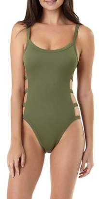 No Boundaries Juniors' Rib Banding One-Piece Swimsuit