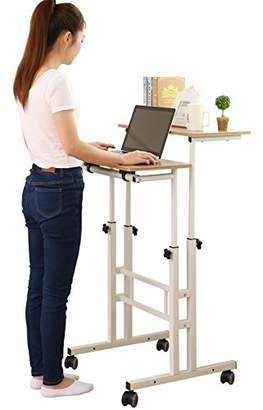 SDADI 2 Inches Carpet Wheel Mobile Stand Up Desk Height Adjustable Home Office Desk With Standing and Seating 2 Modes 3.0 Edition