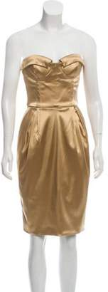 Dolce & Gabbana Strapless Satin Dress Gold Strapless Satin Dress