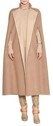 Agnona Double-Face Cashmere Cape with Fur Collar