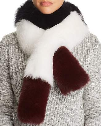 Maximilian Furs Color-Blocked Fox Fur Pull-Through Scarf - 100% Exclusive