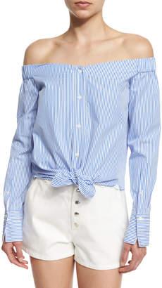 Rag & Bone Kacy Reversible Poplin Off-the-Shoulder Striped Tunic, White