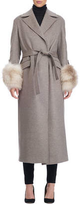 Giuliana Teso Belted Wool-Blend Wrap Coat with Fur Cuffs