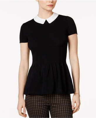 Maison Jules Collared Peplum Sweater, Created for Macy's $59.50 thestylecure.com