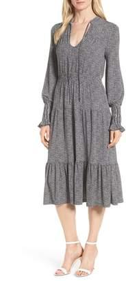 MICHAEL Michael Kors Check Tiered Ruffle Tie Neck Dress