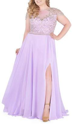 Mac Duggal Plus Size Boat-Neck Embellished Cap-Sleeve Gown