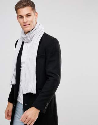 Asos DESIGN Knitted Scarf In Gray Chenille