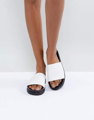 Vagabond Erin White Leather Slider Sandals