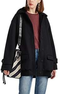 ATM Anthony Thomas Melillo Women's Faux-Fur-Trimmed Cotton Jersey Coat - Black