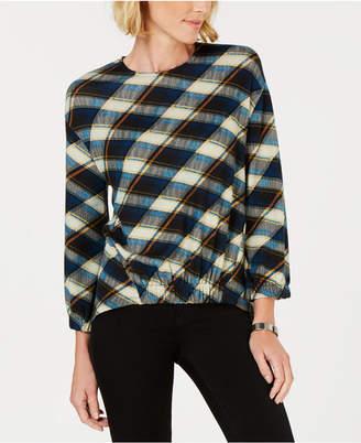 John Paul Richard Petite Plaid Knit Shirt