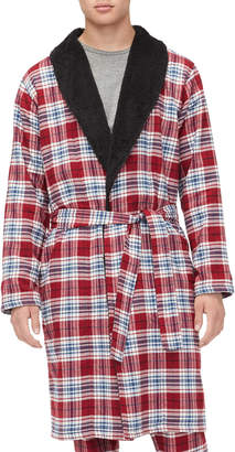 UGG Men's Kalib Sherpa-Lined Plaid Robe