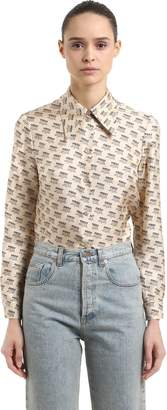 Gucci Logo Printed Silk Twill Shirt