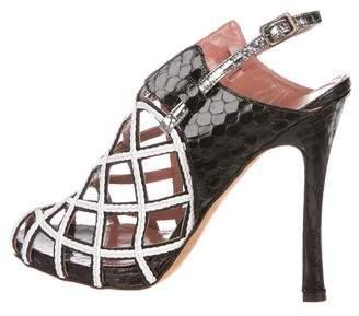 Derek Lam Snakeskin Caged Sandals