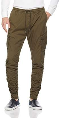 Wood Paper Company Men's Washed Slim Fit Cargo Jogger With Gathered Legs