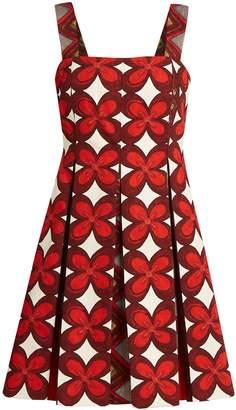Valentino Cuban flower-print pleated mini dress