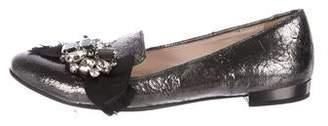 Miu Miu Embellished Metallic Loafers