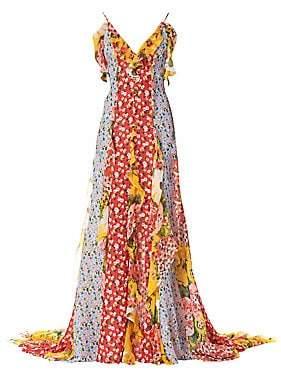 Carolina Herrera Women's V-Neck Patchwork Floral Ruffle Gown