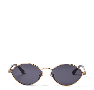 Jimmy Choo SONNY Gold Metal Oval Sunglasses with Glitter Trim