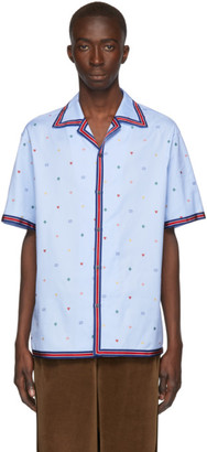 Gucci Blue Multi Icon Bowling Shirt