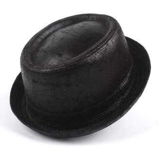 44cf74bd46b XZP Vintage Leather pork pie Fedora Hat Men Boater Flat Top Hat For  Gentleman Bowler Gambler