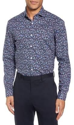 Duchamp Trim Fit Floral Dress Shirt