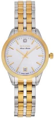 Bulova Women's Accu Swiss Diamond Accent Two Tone Stainless Steel Watch - 65P111