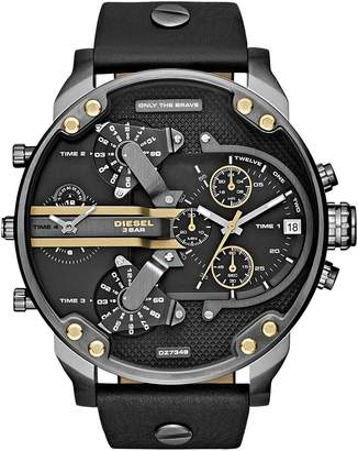 Diesel Men's DZ7348 Mr Daddy 2.0 Gunmetal Leather Watch