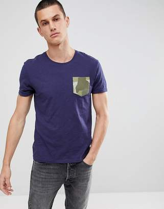 Esprit Organic T-Shirt With Camo Pocket