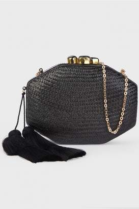 Rafe New York Black Sofia Octagon Clutch with Tassles