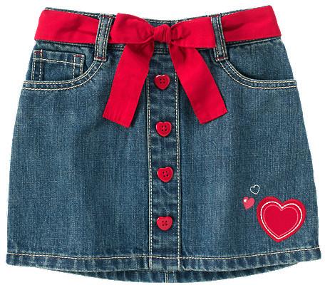 Gymboree Heart Belted Jean Skort
