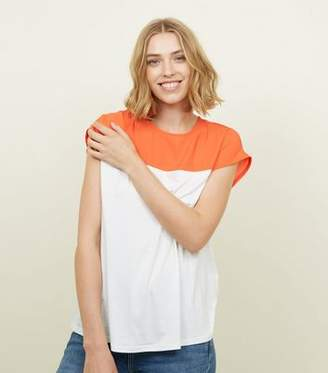 New Look Bright Orange Colour Block T-Shirt