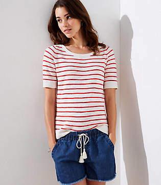 LOFT Petite Stripe Textured Short Sleeve Sweater