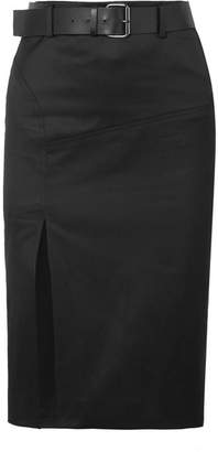 Tom Ford Belted Cotton-blend Twill Skirt - Black