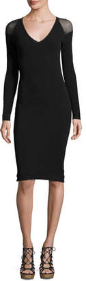 Fuzzi Illusion Long-Sleeve Tulle Sheath Dress, Black $320 thestylecure.com
