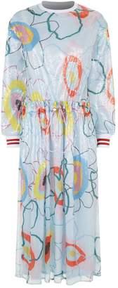Mira Mikati Floral Sequin Embellished Dress