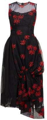 Simone Rocha Floral Embroidered Tulle Dress - Womens - Black Red