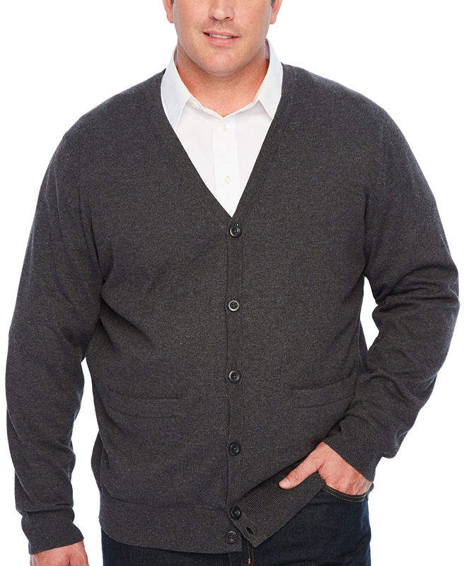 THE FOUNDRY SUPPLY CO. The Foundry Big & Tall Supply Co. V Neck Long Sleeve Cardigan - Big and Tall