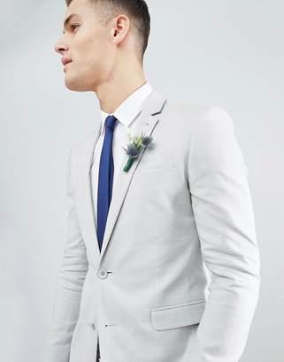 Asos Design DESIGN Wedding Super Skinny Suit Jacket In Ice Grey Linen