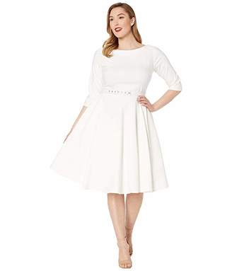9ee4b71b0388 Unique Vintage Plus Size 1950s Style Stretch Sleeved Devon Swing Dress