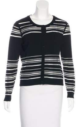 Milly Mesh-Striped Button-Up Cardigan