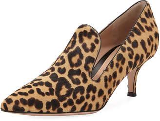 Gianvito Rossi Leopard-Print Calf Hair Loafer Pump