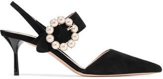 Miu Miu Faux Pearl-embellished Suede Slingback Pumps - Black