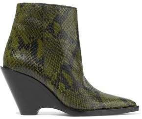 Acne Studios Caroline Snake-Effect Leather Ankle Boots