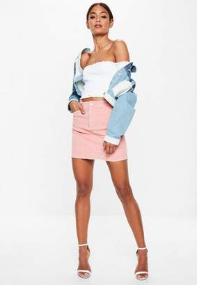 Missguided Tall White Lettuce Hem Ribbed Bardot Crop Top