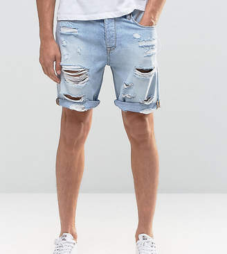 Asos TALL Slim Denim Shorts In Light Bleach Wash Blue with Rips