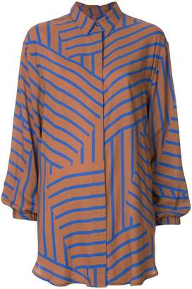 Mads Norgaard long-line striped shirt
