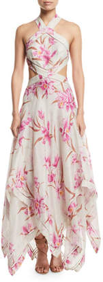 Zimmermann Corsage Floral Cutout Scarf Maxi Dress