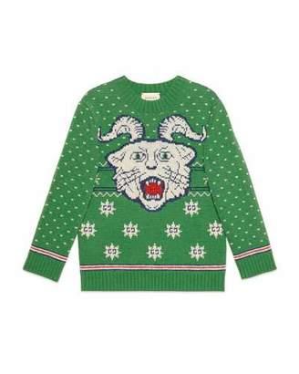 Gucci Wool Face Intarsia Sweater, Size 4-12