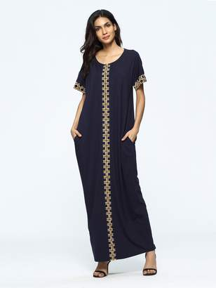 Shein Geometric Print Full Length Dress